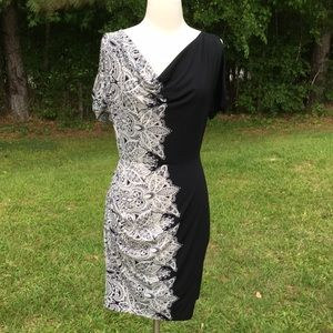 BCBG MaxAzira Black White Ruched Dress Sz Medium